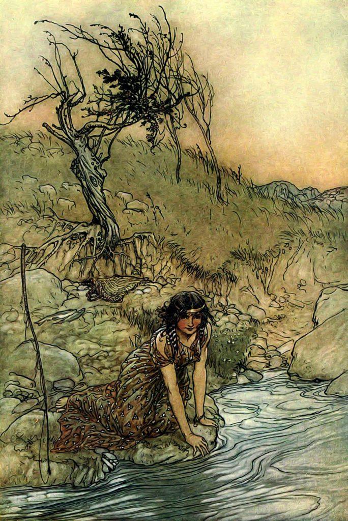Una donna al fiume.